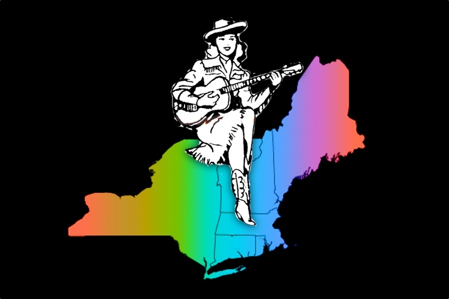 """Decorative image of a """"country"""" woman holding a guitar while sitting atop a rainbow colored map of the Northeastern US."""